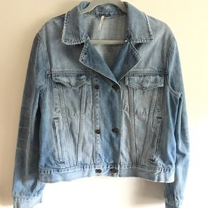 Free People Double Breasted Denim Jacket